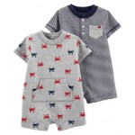 2-Pack Crab Rompers