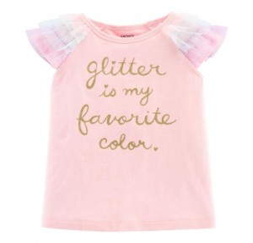 Glitter Tulle-Sleeve Top