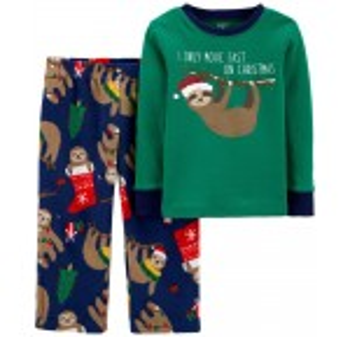 2-Piece Santa Sloth Fleece PJs
