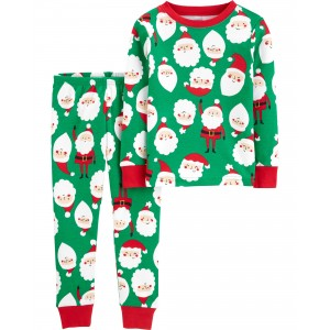 2-Piece Christmas Santa Snug Fit Cotton PJs