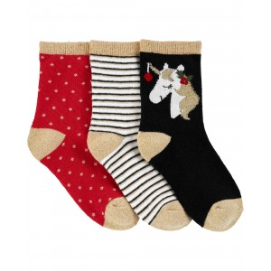 3-Pack Christmas Crew Socks