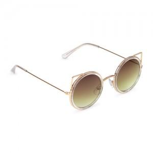 Girls Metal Cat Ears Round Sunglasses