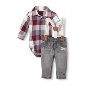 Baby Boys Long Sleeve Plaid Twill Button-Down Bodysuit And Denim Jeans Suspenders Set