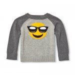 Toddler Boys Long Raglan Sleeve Emoji Graphic Sweater