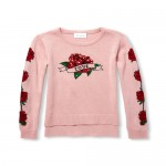Girls Long Sleeve Embellished Graphic Sweater