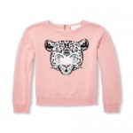 Girls Long Sleeve Embellished Leopard Graphic Sweater