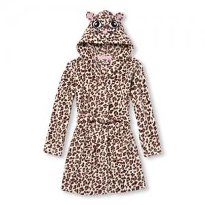 Girls Long Sleeve Leopard Print Hooded Robe