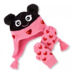 Toddler Girls Lady Bug Hat And Mittens Set