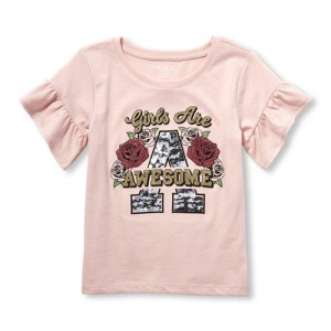 Girls Short Ruffle Sleeve Embellished Graphic Top