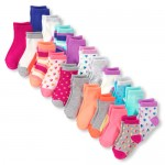 Toddler Girls Print And Solid Midi Socks 20-Pack