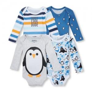 Baby Boys Long Sleeve Penguin Bodysuit 4-Pack