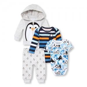 Baby Boys Penguin Hoodie, Bodysuits And Pants 4-Piece Playwear Set