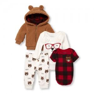 Baby Boys Bear Hoodie, Bodysuits And Printed Pants 4-Piece Playwear Set