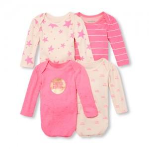 Baby Girls Long Sleeve Neon Printed Bodysuit 4-Pack