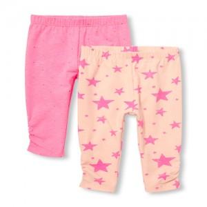 Baby Girls Neon Star Print Pants 2-Pack