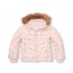 Girls Foil Star Print Faux Fur Hooded Puffer Jacket