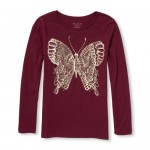 Girls Long Sleeve Foil Butterfly Graphic Tee