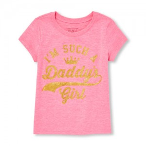 Baby And Toddler Girls Short Sleeve Glitter 'Daddy's Girl' Graphic Tee