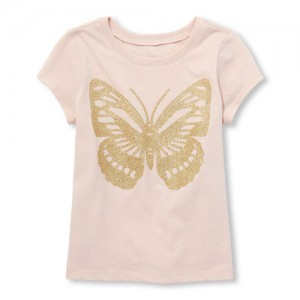 Baby And Toddler Girls Short Sleeve Glitter Butterfly Graphic Tee
