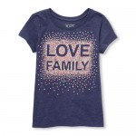 Baby And Toddler Girls Short Sleeve Sequin 'Love Family' Graphic Tee