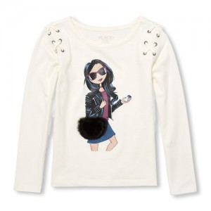 Girls Long Sleeve Graphic Lace-Up Top