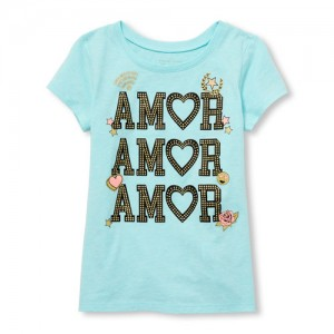 Baby And Toddler Girls Short Sleeve Glitter 'Amor' Graphic Tee