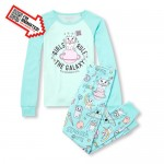 Girls Long Sleeve Girls Rule The Galaxy Animated Top And Printed Pants Snug-Fit PJ Set