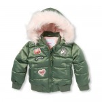 Toddler Girls Patch Faux Fur Hooded Puffer Jacket
