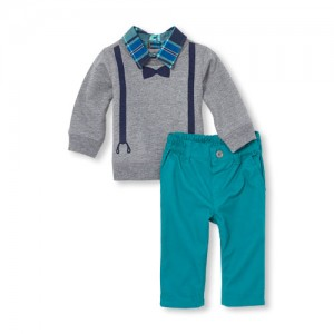 Baby Boys Long Sleeve Faux Layer Preppy Top And Chino Pants Set
