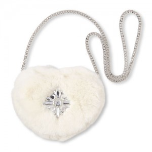Girls Gemstone Faux Fur Heart Bag