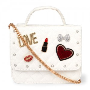 Girls Charm Embellished Quilted Glitter Bag