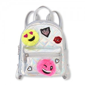Girls Emoji Quilted Holographic Mini Backpack