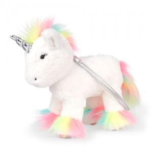 Girls Faux Fur Rainbow Unicorn Bag