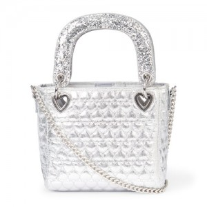 Girls Metallic Heart Quilted Bag