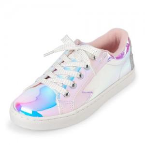 Girls Emoji Holographic Sneakers