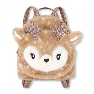Girls Faux Fur Reindeer Mini Backpack