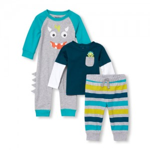 Baby Boys Long Sleeve Monster Top, Romper And Pants 3-Piece Playwear Set