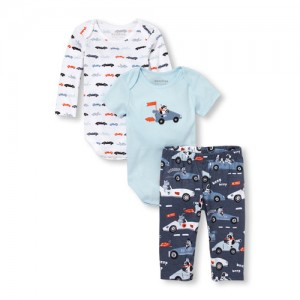 Baby Boys Cars Bodysuits And Printed Pants 3-Piece Playwear Set