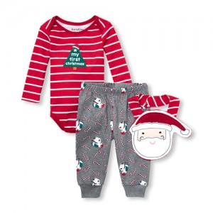 Baby Boys Christmas Bodysuit, Pants And Bib 3-Piece Playwear Set