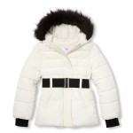 Girls Belted Faux Fur Hooded Puffer Jacket