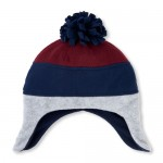 Boys Pom Pom Colorblock Fleece Hat