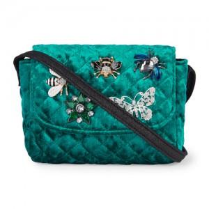 Girls Faux Pin Velour Messenger Bag