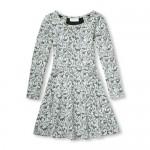 Girls Long Sleeve Metallic Jacquard Knit Dress