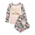 Girls Long Raglan Sleeve Foil Girls Are Hashtag Strong Top And Printed Pants PJ Set
