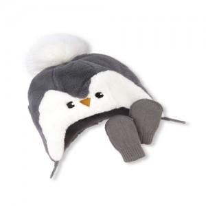 Baby Boys Penguin Pom Pom Hat And Mittens Set