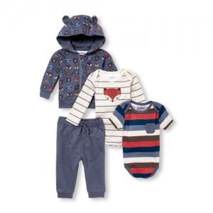 Baby Boys Fox Hoodie, Bodysuits And Pants 4-Piece Playwear Set