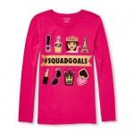 Girls Long Sleeve Glitter 'Hashtag Squad Goals' Graphic Tee