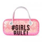 Girls 'Hashtag Girls Rule!' Glitter Sunglasses Case