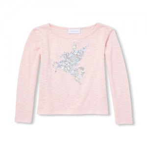 Girls Long Sleeve Foil Graphic Snit Top