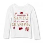 Baby And Toddler Girls Long Sleeve Glitter 'I've Got Grandma' Graphic Tee